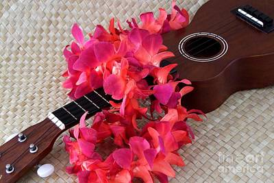 Ukulele Photograph - Ukulele And Red Lei by Mary Deal