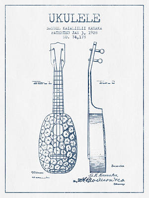 Ukulele Drawing - Ukulele Patent Drawing From 1928 - Blue Ink by Aged Pixel
