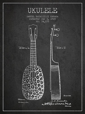 Ukulele Drawing - Ukulele Patent Drawing From 1928 - Dark by Aged Pixel
