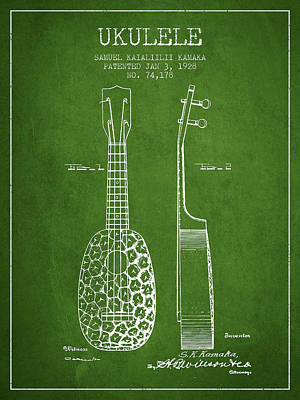Ukulele Drawing - Ukulele Patent Drawing From 1928 - Green by Aged Pixel