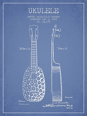 Ukulele Drawing - Ukulele Patent Drawing From 1928 - Light Blue by Aged Pixel