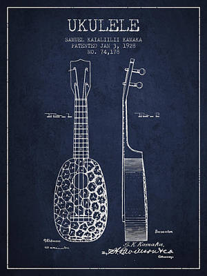 Ukulele Drawing - Ukulele Patent Drawing From 1928 - Navy Blue by Aged Pixel