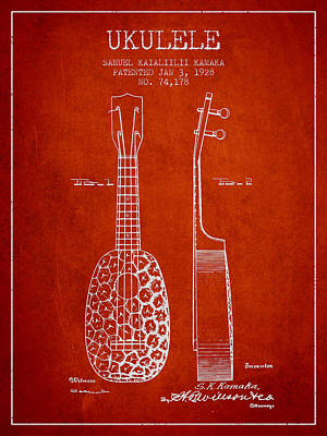 Ukulele Drawing - Ukulele Patent Drawing From 1928 - Red by Aged Pixel