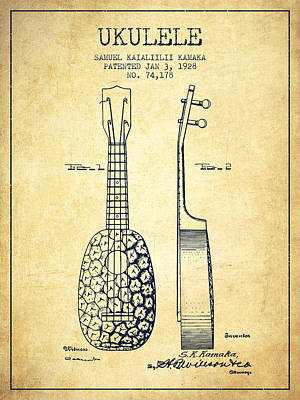 Ukulele Drawing - Ukulele Patent Drawing From 1928 - Vintage by Aged Pixel