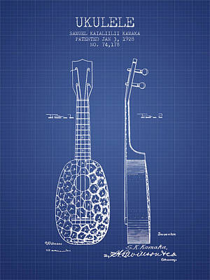 Ukulele Drawing - Ukulele Patent From 1928 - Blueprint by Aged Pixel