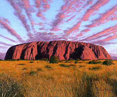 Kata Painting - Uluru Sunset Ayers Rock Central Australia by Richard Harpum