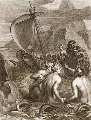 Charming Drawing - Ulysses And His Companions Avoid by Bernard Picart