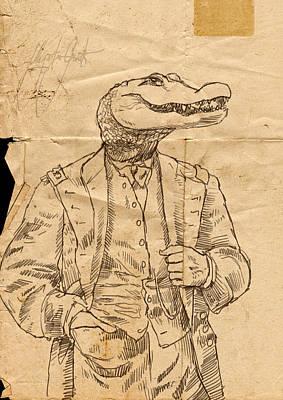 Alligator Digital Art - General Alligator by H James Hoff