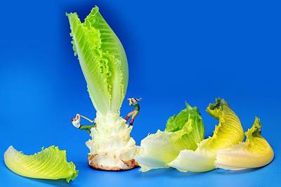 Lettuce Digital Art - Lumber Workers Cutting Lettuce II Little People On Food by Paul Ge
