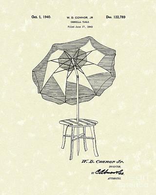 Umbrella Drawing - Umbrella Table 1940 Patent Art by Prior Art Design