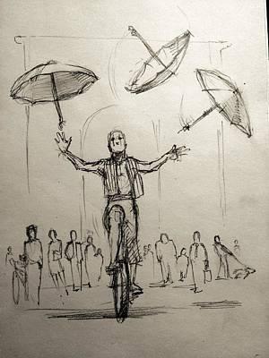Umbrellas Print by H James Hoff