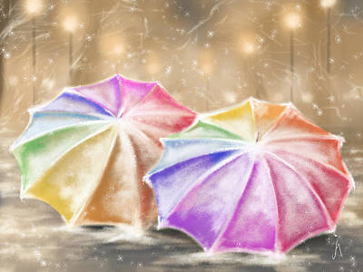 Snowscape Digital Art - Umbrellas by Veronica Minozzi