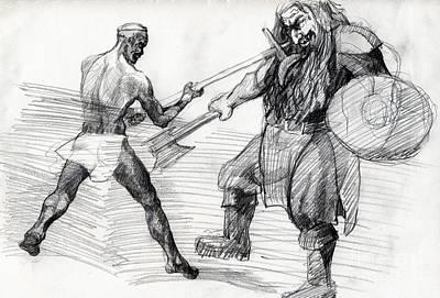 Whistler Drawing - Umslopogaas Vs Rezu by Whistler Kenworthy