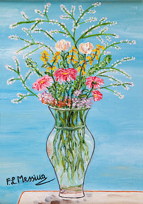 Bouquets Of Pink Flowers Green Blue Painting - Un Segno by Loredana Messina