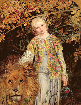 Embroidered Photograph - Una And The Lion, Exh. 1860 by William Bell Scott