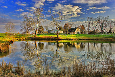 Sky Writer Photograph - Uncle Remus's House Reflection Near Lake Oconee And Eatonton Ga by Reid Callaway