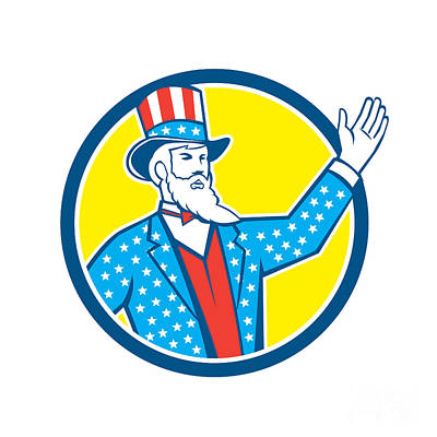 Uncle Sam Digital Art - Uncle Sam American Hand Up Circle Retro by Aloysius Patrimonio