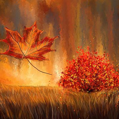 Undeniably Autumn- Autumn Impressionist Painting Print by Lourry Legarde