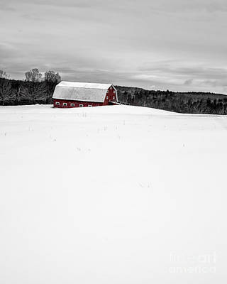 Red Barn. New England Photograph - Under A Blanket Of Snow Christmas On The Farm by Edward Fielding