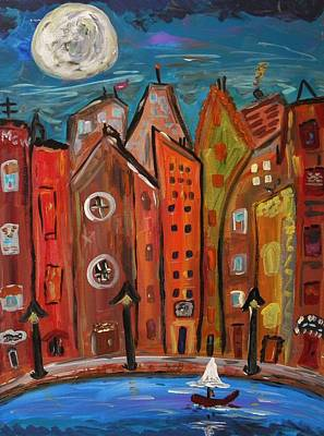 Outsider Art Painting - Under A Magical Moon by Mary Carol Williams
