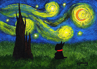 Scottish Dog Painting - Under A Starry Night by Todd Young