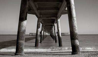 Blavk And White Photograph - Under Deal Pier by Ian Hufton