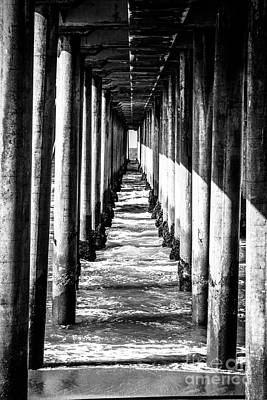 Beam Photograph - Under Huntington Beach Pier Black And White Picture by Paul Velgos