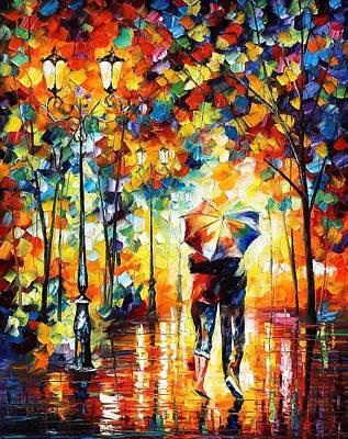 Under One Umbrella - Palette Knife Figures Oil Painting On Canvas By Leonid Afremov Original by Leonid Afremov