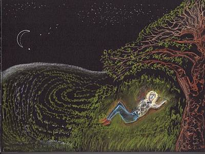 New Moon Drawing - Under The Cosmos   by Jim Taylor