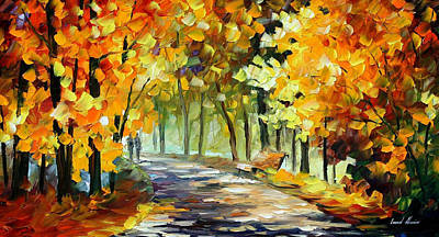 Under The Gold Arch - Palette Knife Oil Painting On Canvas By Leonid Afremov Original by Leonid Afremov