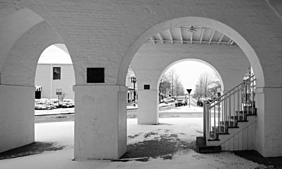 Observer Photograph - Under The Market House In Snow - Fayetteville Nc by Matt Plyler