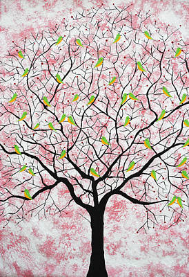 Tree Roots Painting - Under The Pink Sky by Sumit Mehndiratta
