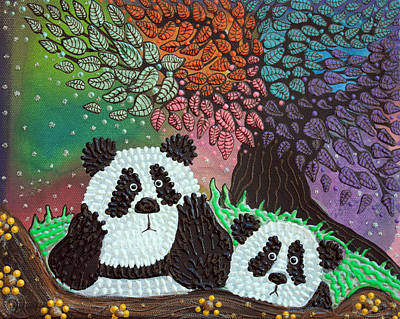 Panda Painting - Under The Rainbow Tree by Laura Barbosa