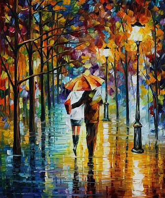 Under The Red Umbrella - Palette Knife Oil Painting On Canvas By Leonid Afremov Print by Leonid Afremov
