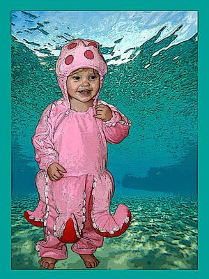 Little Girls Mixed Media - Under The Sea by Ellen Henneke