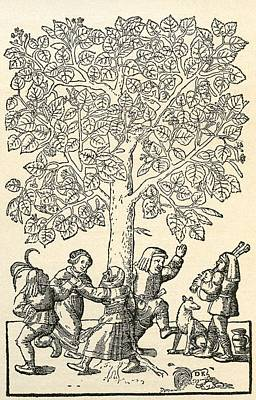 Daily Life Photograph - Under The Village Linden Tree, After A 16th Century Engraving By  Kandel.  From Illustrierte by Bridgeman Images