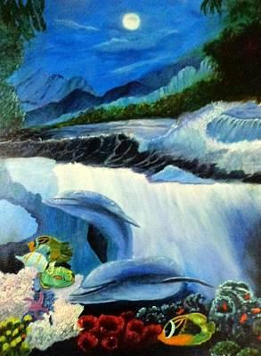 Ski Painting - Under The Waves by Janis  Tafoya