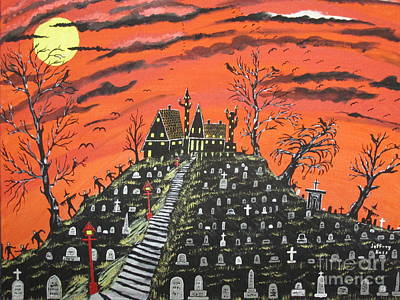 Night Lamp Painting - Undertaker's House by Jeffrey Koss