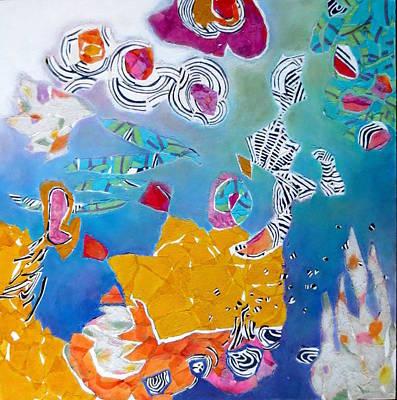 Mixed Media - Underwater Flowers by Diane Fine