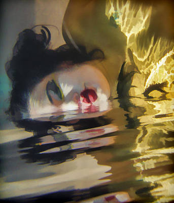 Creepy Digital Art - Underwater Geisha Abstract 2 by Scott Campbell