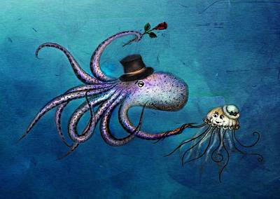 Gorgon Digital Art - Underwater Love  Octopus Jellyfish by Anna Shell