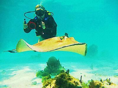 Underwater Photographer And Stingray Print by John Malone Halifax Artist