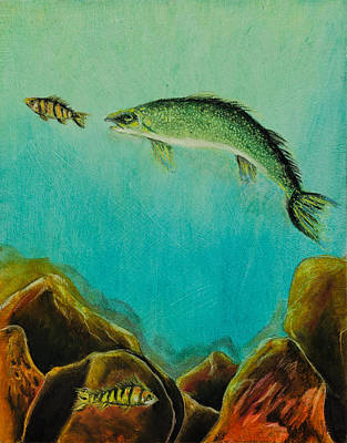 Fish Painting - Underwater Predators Panel 1 by Jeanne Fischer