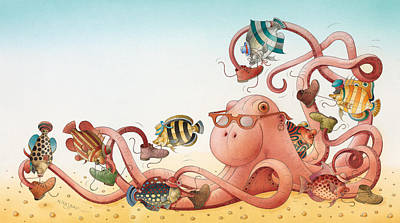 Octopus Drawing - Underwater Story 05 by Kestutis Kasparavicius