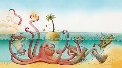 Octopus Drawing - Underwater Story 06 by Kestutis Kasparavicius