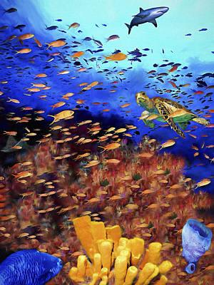 Sea Turtles Painting - Underwater Wonderland by David Wagner