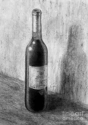 Une Bouteille De Vin Rouge Print by Jacqueline Barden