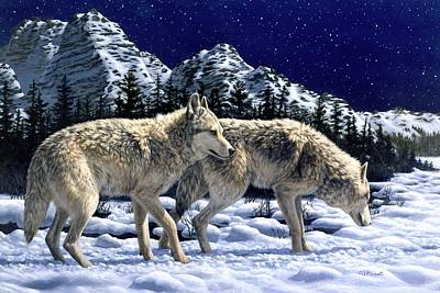 Winter Night Painting - Wolves - Unfamiliar Territory by Crista Forest