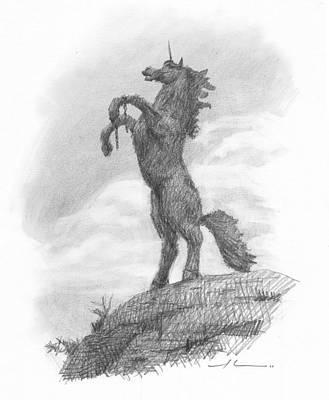 Statue Portrait Drawing - Unicorn Statue Pencil Portrait by Mike Theuer