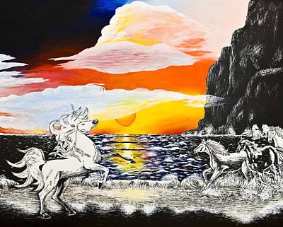Unicorn Drawing - Unicorn by Svetlana Sewell
